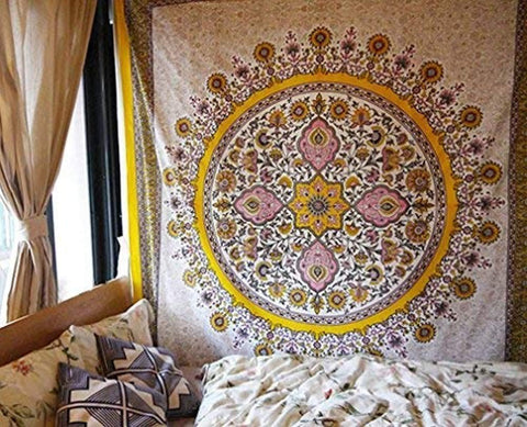 "Sketched Floral Medallion Tapestry Gold Indian Headboard Wall Hanging Home Decor,60""x 80"",Twin Size"