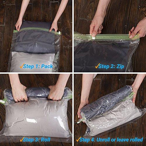 dbbd1685f37d ... Image of 8 Travel Storage Bags for Clothes - No Vacuum or Pump Needed  -Reusable ...