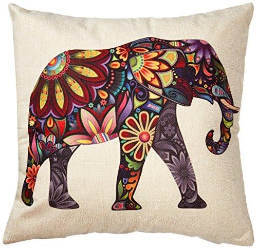Generic Bright Color Flower Elephant Burlap Pillow Cases Cushion Covers, 18