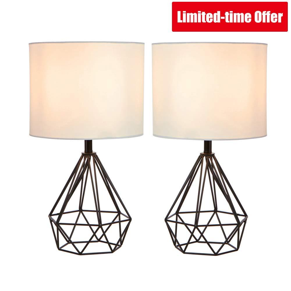 "SOTTAE Black Hollowed Out Base Modern Lamp Bedroom Livingroom Beside Geometric Table Lamp, 16"" Desk Lamp With White Fabric Shade(Set of 2)"