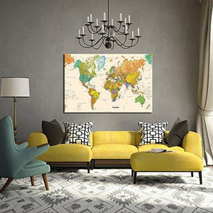 Large Size World Map Wall Art Framed Art Print Picture Wall Decor Home Interior - Map Picture for Office Wall Decor (Stretched Canvas)