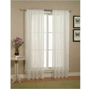 "WPM 2 Piece Beautiful Sheer Window Elegance Curtains/drape/panels/treatment 60""w X 84""l (White) - zingydecor"