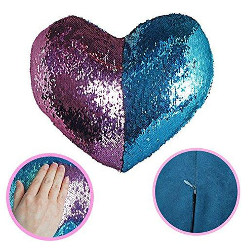 Image of Mermaid Pillow with Pillow Insert By U-miss, Two-color Decorative Heart Shape Reversible Sequin Pillow 13''×15'' (Heart-Shaped, Pink-Blue)