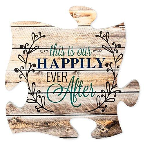 This is Our Happily Ever After 12 x 12 inch Wood Puzzle Piece Wall Sign Plaque - zingydecor