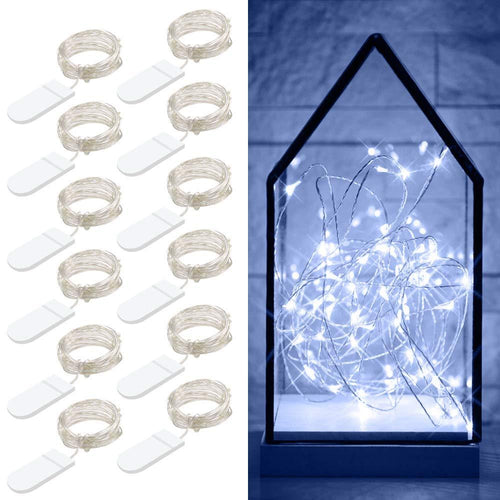 Govee 12 Packs Fairy String Lights, 3.3FT 20 LEDs Battery Operated Jar Lights Bedroom Patio Wedding Party Christmas(Cool White) - zingydecor