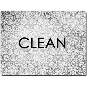 Clean Dirty Dishwasher Magnet - Flexible Reversible 3x4 inch Big size Flipside Black and White Simple Design Perfect Kitchen Addition Premium Flip Sign Indicator - zingydecor