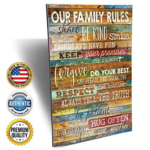 Marla Rae 12-Inch-by-18-Inch Country Wood Our Family Rules Wall Art Sign Decor, Brown - zingydecor