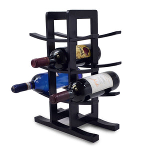 Sorbus Bamboo Wine Rack – Holds 12 Bottles of Your Favorite Wine – Sleek and Chic Looking Wine Rack (Black) - zingydecor