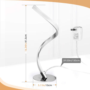 Albrillo Spiral Design LED Table Lamp - Touch Sensor Dimmable Desk Lamp, Warm White 3000K Bedside Lamps of Stainless Steel, 1.5m Cable, 5W 450LM Nightstand Lamps, for Bedroom, Office, Living Room