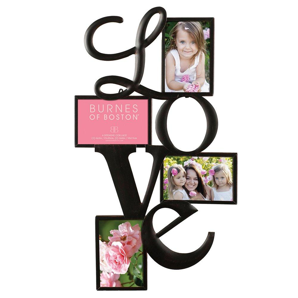 "Burnes of Boston Traditional Oil Rubbed Bronze ""LOVE"" Collage Wall Frame #542540. Fits Four 4x6 Images Or Photos"