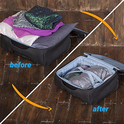 "8 Travel Storage Bags for Clothes - No Vacuum or Pump Needed -Reusable Space Saver Packing Sacks (4 items - 28x20"", 4 items - 24x16"") - Rolling Compression for Luggage - zingydecor"