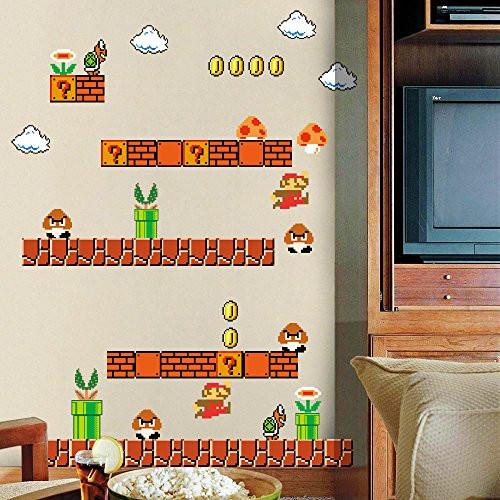 HomeEvolution Giant Super Mario Build a Scene Peel and Stick Wall Decals Stickers for Kids Boys...