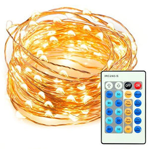 33ft 100 LED String Lights Dimmable with Remote Control, TaoTronics Waterproof Decorative Lights for Bedroom, Patio, Garden, Gate, Yard, Parties, Wedding ( Copper Wire Lights, Warm White ) - zingydecor