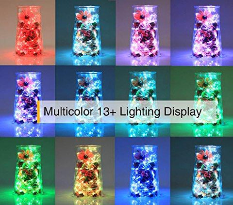 Image of Homestarry LED String Lights,Battery Powered Multi Color Changing String Lights With Remote,50leds Indoor Decorative Silver Wire Lights for Bedroom ,Patio,Outdoor Garden,Stroller,Christmas Tree.(16ft)