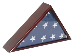 Solif Wood Memorial Flag Case Frame Display Case for 5x9.5' Flag folded. For Funeral or Burial Flag, FC60-MAH - zingydecor