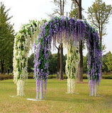 12 Pack 1 Piece 3.6 Feet Artificial Fake Wisteria Vine Ratta Hanging Garland Silk Flowers String Home Party Wedding Decor (White)