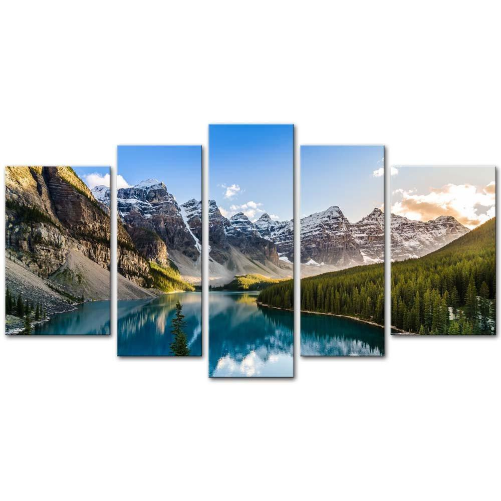 5 Pieces Modern Canvas Painting Wall Art The Picture For Home Decoration Moraine Lake And Mountain Range Sunset Canadian Rocky Mountains Landscape Print On Canvas Giclee Artwork For Wall Decor - zingydecor