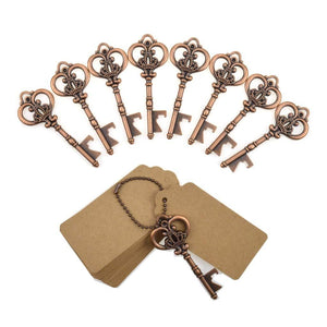 DerBlue 60 PCS Key Bottle Openers,Vintage Skeleton Key Bottle Opener,Skeleton Key Bottle Openers Wedding Favors Rustic Decoration with Escort Tag Card (Silver) - zingydecor