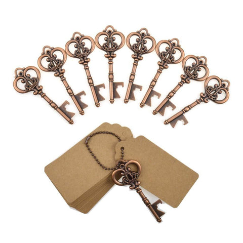 Image of DerBlue 60 PCS Key Bottle Openers,Vintage Skeleton Key Bottle Opener,Skeleton Key Bottle Openers Wedding Favors Rustic Decoration with Escort Tag Card (Silver)