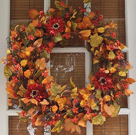 Image of Highland Silk Fall Door Wreath - 22 inches