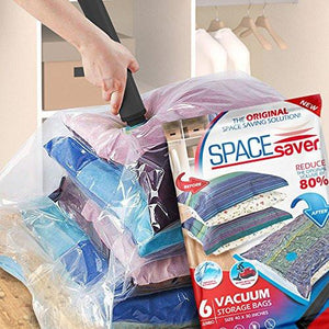 SpaceSaver PremiumJUMBO Vacuum Storage Bags (Works With Any Vacuum Cleaner + FREE Hand-Pump for Travel!) Double-Zip Seal and Triple Seal Turbo-Valve for 80% More Compression! (6 Pack) - zingydecor