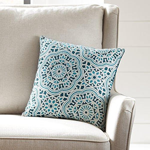 "Stone & Beam Medallion Pillow, 17"" x 17"", Aqua - zingydecor"