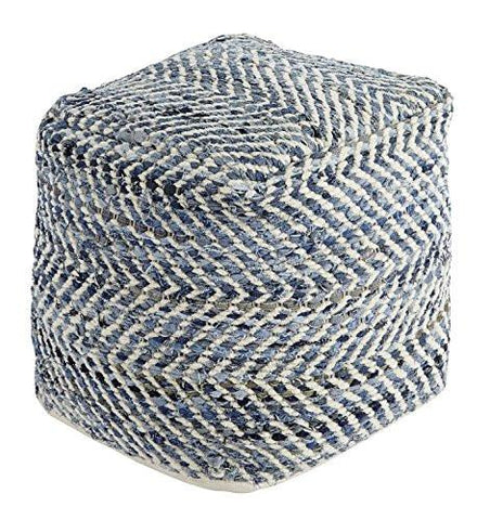 Image of Ashley Furniture Signature Design - Chevron Pouf - Hand Woven Traditional Styling - Comfy Chair or Footrest - Blue - zingydecor