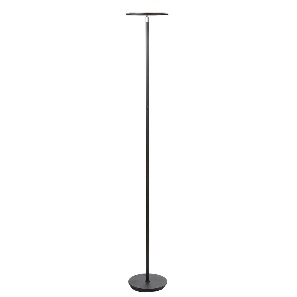 Brightech SKY LED Torchiere Floor Lamp – Energy Saving, Dimmable Adjustable Lamp, Reading Lamp– Modern Tall Standing Pole Uplight Lamp Light for Living Room, Dorm, Bedroom, and Office –Black - zingydecor