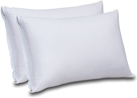 Image of Cotton Sateen Zippered Pillow Cases - 2 Pack (Queen, White) - Sateen Pillow Cover for Maximum Softness - Easy Care, Elegant Double Hemmed Stitched Pillow Encasement, 300 Thread Count by Utopia Bedding