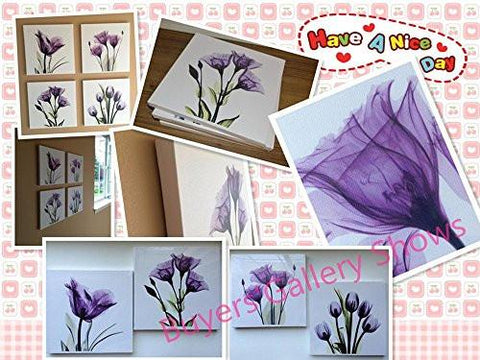 HLJ ART 4 Panel Elegant Tulip Purple Flower Canvas Print Wall Art Painting For Living Room Decor And Modern Home Decorations Photo Prints 12x12inch(Wood Framed)