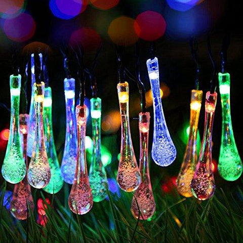 Image of GDEALER Solar Outdoor String Lights 20ft 30 LED Water Drop Solar String Fairy Waterproof Lights Christmas Lights Solar Powered String lights for Garden, Patio, Yard, Home, Christmas Tree, Parties