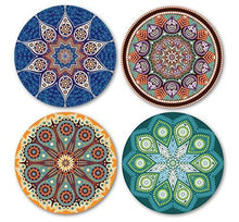 Load image into Gallery viewer, Coastero Absorbent Stone Coasters - Mandala - Set of 4 - zingydecor