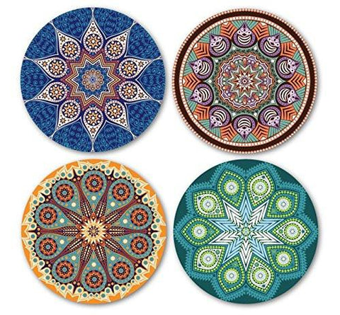 Image of Coastero Absorbent Stone Coasters - Mandala - Set of 4