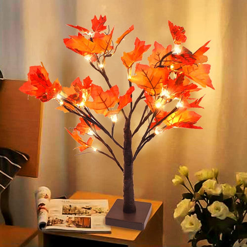 Lighted Fall Maple Tree Table Centerpiece 24 LED Battery Powered
