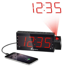 "Vansky Digital Projection Alarm Clock Radio With Dimmer, 1.8"" LED Display, USB Charging, Dual Alarm, SNOOZE, Battery Backup - zingydecor"