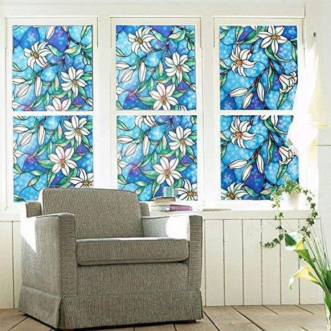 Non-Adhesive Static Frosted Window Film Stained Glass Window Film Privacy Film for Home Bathroom Living Room