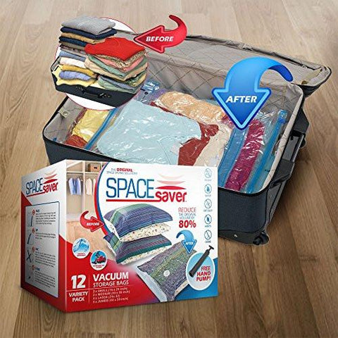 Image of SpaceSaver Premium Vacuum Storage Bags (Lifetime Replacement Guarantee) Variety Pack (3 x Small, Medium, Large & Jumbo) 80% More Storage Than Other Brands! Free Hand-Pump For Travel!