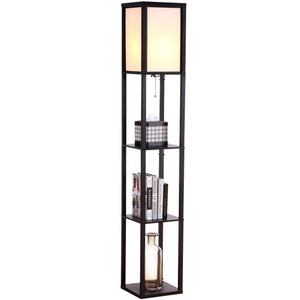 Brightech - Maxwell LED Shelf Floor Lamp – Modern Asian Style Standing Lamp with Soft Diffused Uplight White Shade- Wooden Frame with Convenient Open Box Display Shelves- Black - zingydecor