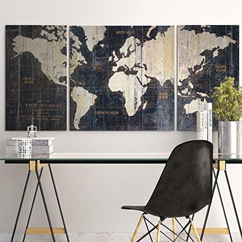 MasterPieces Old World Map Blue by Avery Tillmon Graphic Art on Wrapped Canvas Set, 3 Piece