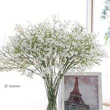 "Load image into Gallery viewer, 9pcs Artificial Flowers 21"" Gypsophila Baby Breath Bouquets Silica Gel for Wedding Home DIY Decor White - zingydecor"