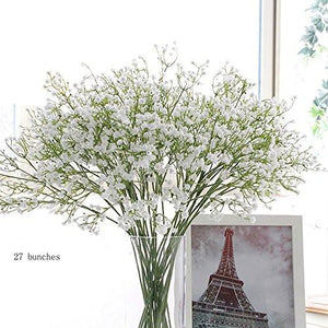 "9pcs Artificial Flowers 21"" Gypsophila Baby Breath Bouquets Silica Gel for Wedding Home DIY Decor White - zingydecor"