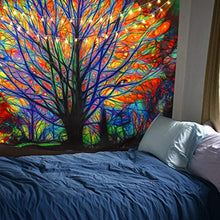 "Load image into Gallery viewer, BLEUM CADE Colorful Tree Tapestry Wall Hanging Psychedelic Forest with Birds Wall Tapestry Bohemian Mandala Hippie Tapestry for Bedroom Living Room Dorm (The Tree, 51.2""X59.1"") - zingydecor"