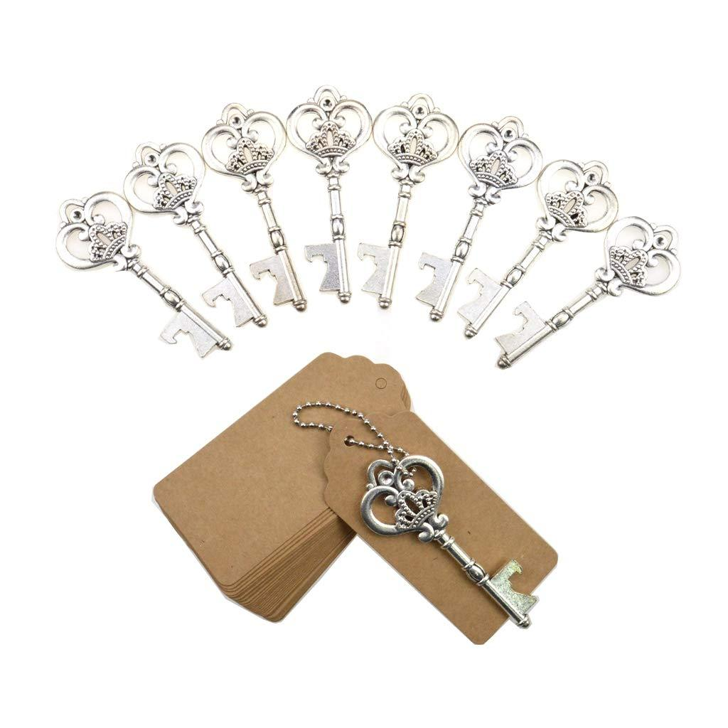 DerBlue 60 PCS Key Bottle Openers,Vintage Skeleton Key Bottle Opener,Skeleton Key Bottle Openers Wedding Favors Rustic Decoration with Escort Tag Card (Silver)