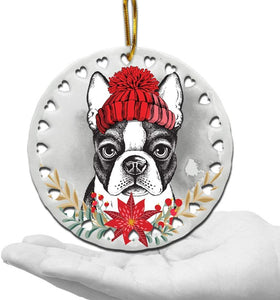 Dog Lover Gifts-Ceramic Hearts Christmas Tree Ornament