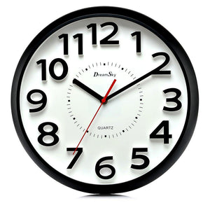 DreamSky 13 Inch Large Wall Clock , Non-Ticking Silent Quartz Decorative Clocks , Battery Operated, Round Retro Indoor Outdoor Kitchen Bedroom Living Room Wall Clocks , Big 3D Number Display. - zingydecor