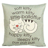 "Decorbox Happy Sleepy Kitty Print Cat Pillow Cushions Cover Throw Pillow Cover For Sofa Office Decorative Pillowslip Gift Ideas Household Pillowcase 18"" x 18"""