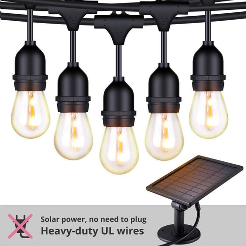 FOXLUX Solar String Lights - 48 ft LED Outdoor String Lights - Shatterproof, Waterproof Pergola Lights - 15 Hanging Sockets, Light Sensor, S14 Edison Bulbs - Decor for Patio, Backyard, Garden, Bistro - zingydecor