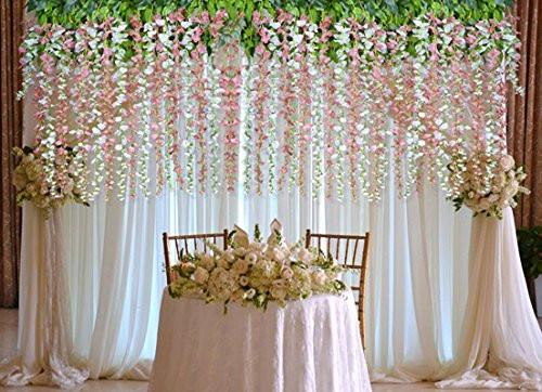12 Pack 1 Piece 3.6 Feet Artificial Fake Wisteria Vine Ratta Hanging Garland Silk Flowers String Home Party Wedding Decor (White) - zingydecor