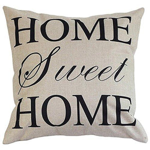 "Cotton Linen Square Decorative Throw Pillow Case Cushion Cover 18"" x 18"" Home Sweet Home Love in Simple Words - zingydecor"