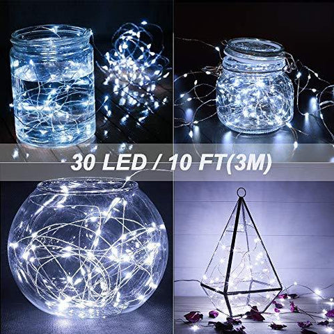 MUMUXI 16 Pack Fairy Lights Battery Operated (Included) 10ft 30 LED Mini String Lights Waterproof Copper Wire Firefly Starry Lights for DIY Wedding Party Mason Jars Christmas Decorations, Warm White